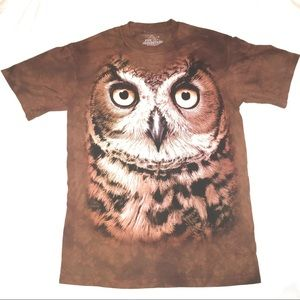 Men's The Mountain OWL Brown T-Shirt Small Tie Die